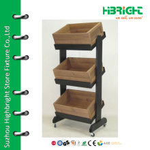 Wood box fruit vegetable display rack