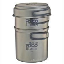 Juego de olla de Camping de titanio de alta calidad