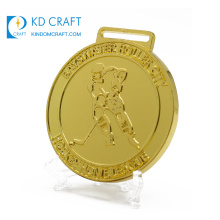 Wholesale china personalized custom metal embossed 3d gold plated 1st sports hockey medal for winner
