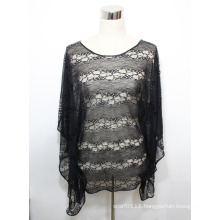 Lady Black Fashion Polyester Knitted Hollow Lace T-Shirt (YKY2226)