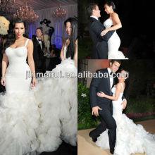 Custom disponível 2013 luxo kim kardashian ruffle correias sereia catedral trem vestido de noiva em camadas JWD034