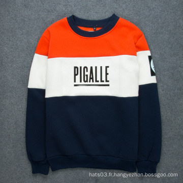 Patch Sweater Contraste Impression sur lettre couleur Sweat-shirt