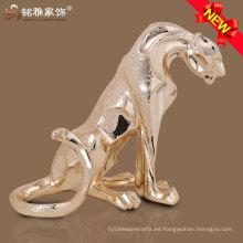 Decoración moderna poliresina material realista sentado estatua de leopardo