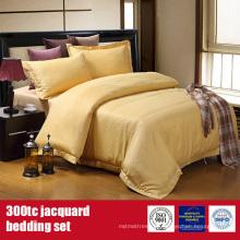 Roupa de cama de luxo de algodão poli 300TC Jacquard Hotel