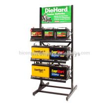 Publicidad Negro Metal De pie Libre 3-Layer Ponit De Venta Accesorios para el automóvil Batería Display Stand