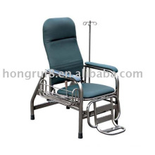 stainless steel infusion chair with a side basket