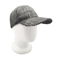 polyester checked customized logo baseball cap