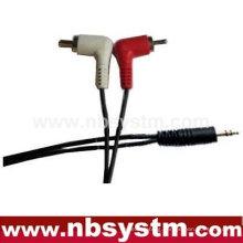 3.5 stereo plug to 2 x RCA plug right angle cable