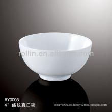 Tazón de fuente de la porcelana blanca durable sano especial