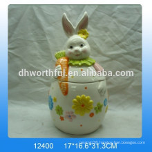 Easter gift ceramic storage tank with rabbit design