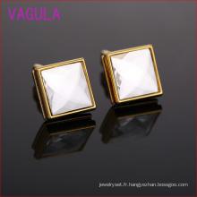 Date Fashion Square Crystal Gold chemise boutons de manchette L51924
