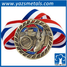 customize metal medal, custom high quality track medal with ribbon