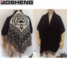 Tejido de lana Poncho Caps Mantón, Mujer Bufandas Mantones