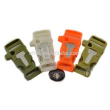 2015 brazaletes con las pulseras de la hebilla del silbato del arrancador de fuego
