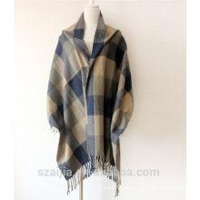 Mantón de poncho del invierno de la tela escocesa de las señoras