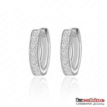 Brass Micro Inlaid Zircon Channel Earrings (CER0032-B)