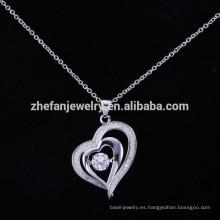 ZheFan último diseño colgante corazón agitando collar cristal colgante de plata