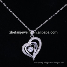 ZheFan latest design heart shaking pendant necklace crystal silver pendant