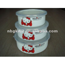 3pcs enamel mixing bowl sets with plastic cover