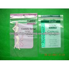 Bolsas laminadas Mylar OPP con un paquete de orificios para bolsas cosméticas de esponja
