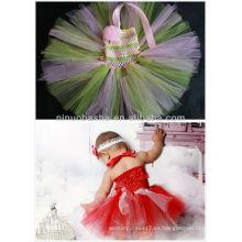 2014 Nuevo vestido de tutú rosado y verde para el desgaste NB079 del bebé