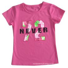 T-shirt da menina da letra da flor na roupa da roupa das crianças com impressão Sgt-073