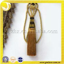 Borla decorativa de oro de la corbata de la cortina en la acción