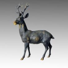 Статуя животного латуни Мужской олень Бронзовая скульптура Tpal-032