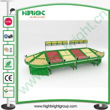Présentoir acrylique de stockage de légumes de supermarché