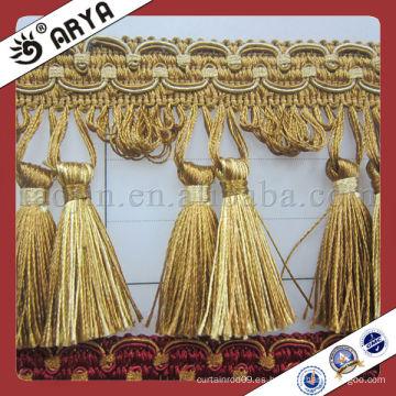 Guarnición de hilo de poliéster cortina de franja de borla para cortinas