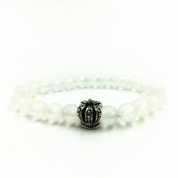 China for Women'S Bead Bracelet Simple Fashion White Crystal Alloy Crown Bead Bracelet export to Spain Factories