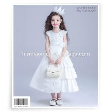 Vestido sin mangas de la princesa de la muchacha del vestido del color blanco del vestido sin mangas del descuento grande grande para el funcionamiento del piano