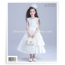Big discount sleeveless girl princess dress white color long korean girl dress for Piano Performance