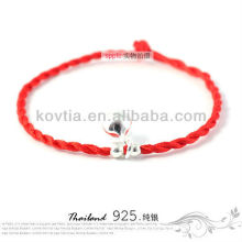 New coming fashion silver jewelry red braided rope bracelet