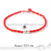 Nova moda moda jóias de prata pulseira de corda trançado vermelho