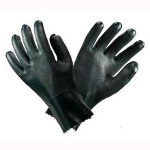 Guantes de seguridad de mano de PVC verde