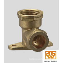 Brass Compression Fitting Wall Plate Elbow FxC