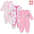 2017 hot sell cute design baby girls jumpsuit 3pcs girft set long sleeve fall season baby girl clothes romper