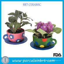 Plantadores de xícaras de vaso de flores de vida nova