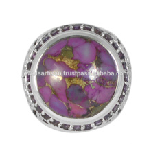 Belle robe violette et turquoise en cuivre 925 anneau en argent massif