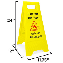 Yellow Double Sided Caution Wet Floor Sign Plastic Caution Sign Board