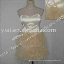 2011 la pluma atractiva de la fabricación del envío de la gota de la alta calidad rebordeó un vestido de coctel del hombro PP2385