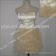 2011 высокое качество падение доставка производство сексуальная перо бисером одно плечо платье для коктейля PP2385