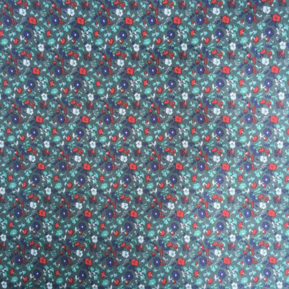 Deep Blue Flower Printed Lining