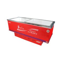 445L Porta deslizante Flat Gabinete Ilha Freezer para Supermercado