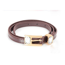 Children skinny shinny PU waist belt with big stone attached buckle