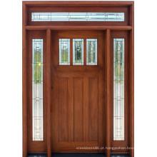 Porta em madeira maciça de mogno com vidro lateral-Lite e travessa