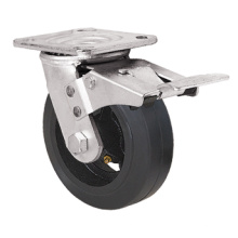 Heavy Duty Caster Series- 8in. W/Dual Brake - Rubber Wheel