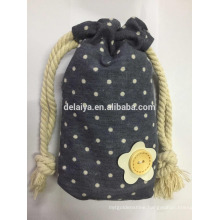 Cute Dots Drawstring Cotton Bag Promotion Packing Bag
