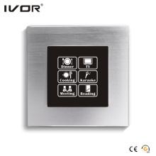 Panel táctil con interruptor de iluminación de red con marco de aleación de aluminio Scene Control (HR1000-AL-S-CAN)